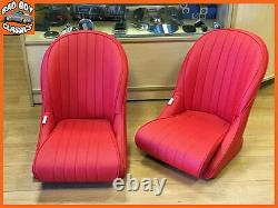 BB Vintage Red Bucket Seats Low Rounded Back + Tilting Subframe CLASSIC MINI