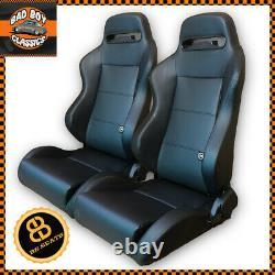 BB3 Pair Reclining Bucket Sports Seats Black + Subframes Direct Fit DEFENDER