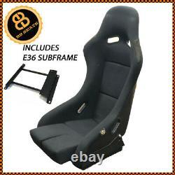 BB5 Fixed Fibreglass Narrow Racing Bucket Seat + Side Mounts + BMW E36 Subframe