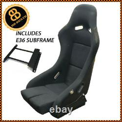 BB5 Fixed Large Fibreglass Racing Bucket Seat + Side Mounts + BMW E36 Subframe