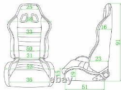Pair BB4 Reclining Bucket Sports Seats Black + Tilting Subframe MINI COOPER