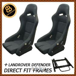 Pair BB5 Fixed Fibreglass Large Racing Bucket Seat + Sub Frames DEFENDER 90 110