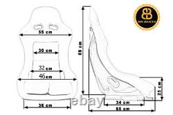 Pair BB5 Fixed Fibreglass Slim Racing Bucket Seats + Subframes Fits CLASSIC MINI